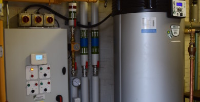 Plant Room with Gas fired water heater and Control panel